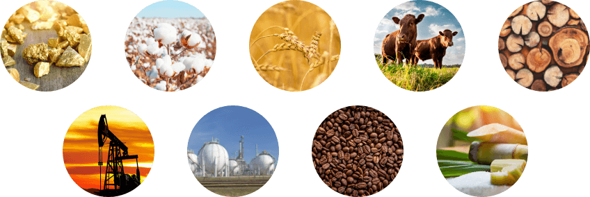 commodity trading types cattle, gold, coal, wheat and metal